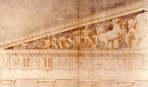 04. Frontão oeste do Parthenon, desenho. Jacques Carrey, século XVIII