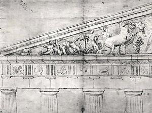 05. Estudo do frontão do Parthenon, desenho. Jacques Carrey, século XVIII
