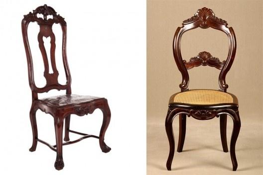 À esquerda, cadeira de couro D. José I, século XVII; à direita, cadeira Beranger, com madeira jacarandá-da-bahia, Recife, século 19<br />Fotos divulgação  [Acervo MCB]