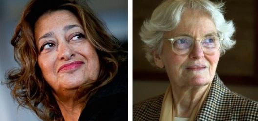 Arquiteta Zaha Hadid, ganhadora do Prêmio Pritzker de 2004; Denise Scott Brown, sócia e esposa de Robert Venturi, que ganhou sozinho o Prêmio Pritzker de 1991 <br />Foto divulgação  [Website Pritzker Architecture Prize / Wikimedia Commons]