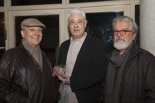 """Reginaldo Forti, Edgar Dente e Roberto Portugal, festa de lançamento do livro """"Abrahão Sanovicz, arquiteto"""", IAB/SP, 22 ago. 2017<br />Foto Fabia Mercadante"""