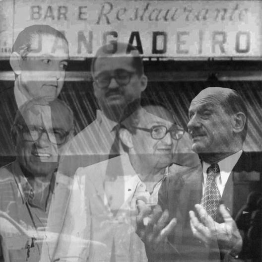 Os fantasmas de Jorge, Aldary, Lelé, Irineu e Jarbas diante do Bar Jangadeiros, desaparecido há décadas no Rio de Janeiro<br />Fotomontagem Abilio Guerra
