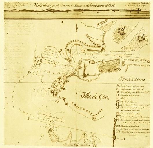 """Vista da Terra de Goa[…], carta (1758) de autor anónimo [""""Ensaio de Iconografia das Cidades Portuguesas do Ultramar"""", publicado por Luís Silveira]"""