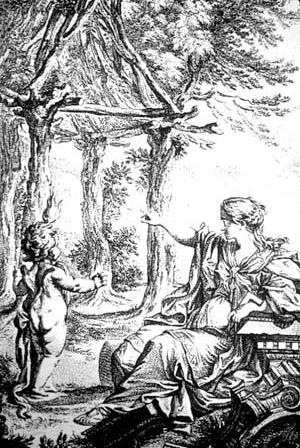 Frontispício do ensaio de Laugier de 1753, com personificação alegórica da Arquitetura