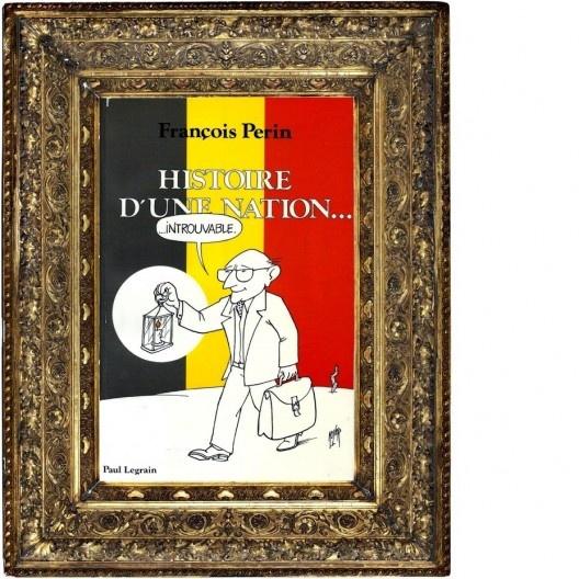 "Capa do livro ""Histoire d'une Nation"", de François Perin, em moldura tradicional<br />Montagem de Abilio Guerra"