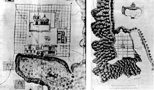 À esquerda, mapa de 1582 de Tentenango, Vila indígena no México. À direita, Cidade do Panamá, plano do século 17 [GUTIERREZ, Ramón. Arquitectura y urbanismo en Iberoamerica. Madrid, Arte Cátedra, 1992]