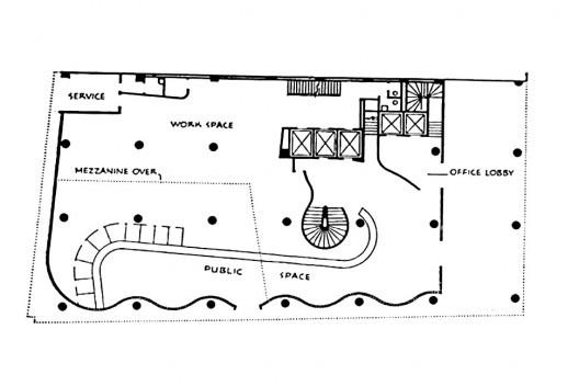 Banco Boavista, plano térreo<br />Imagem divulgação  [PAPADAKI, Stamo. <i>The Work of Oscar Niemeyer</i>, 1950]
