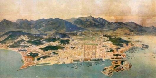 Panorama da cidade do Rio de Janeiro em 1860, Emil Bauch. Litografia, 71,9 x 242 cm [O Brasil redescoberto. Rio de Janeiro, Paço Imperial, 1999]