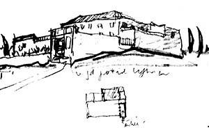 Figura 3: Desenho da implantação do Mosteiro de Ema, executado durante a 'Voyage d'Orient, de 1911 [RAEBURN, Michael & WILSON, Victoria (ed.). Le Corbusier, Architect of the century. London:]
