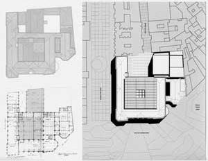 Agência Central e Espaço Cultural dos Correios, projeto de reforma do Una Arquitetos, implantação, planta de cobertura e planta baixa
