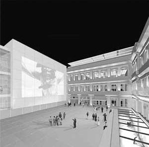 Agência Central e Espaço Cultural dos Correios, Una Arquitetos, perspectiva do pátio