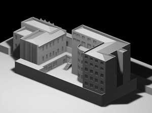 Centro Universitário Maria Antonia e Instituto de Arte Contemporânea, Una Arquitetos, foto da maquete da estrutura existente antes da reforma
