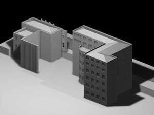 Centro Universitário Maria Antonia e Instituto de Arte Contemporânea, Una Arquitetos, foto da maquete, processo de reforma - estrutura mantida após algumas demolições