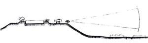 Figura 01 – Affonso Eduardo Reidy, Conjunto Residencial do Pedregulho, 1948. Esquema das visuais do terreno [Affonso Eduardo Reidy. São Paulo, Instituto Bardi / Blau, 2000, p. 83]