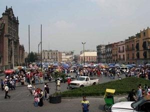 Vendedores ambulantes no Zócalo, Distrito Federal