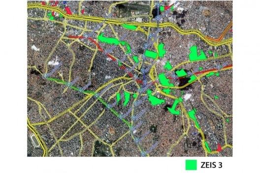 Localização das Zonas Especiais de Interesse Social - 3 (ZEIS 3) em relação à cidade de São Paulo. <br />Fonte HABISP, 2012. Disponível em: <http://mapab.habisp.inf.br/?lat=7384546.57&lon=323322.