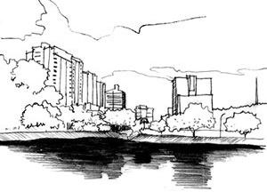 """A verticalização """"em cima"""" do Campus da UFV<br />Ilustração Ítalo Stephan"""