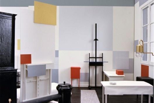Piet Mondrian, Ateliet de la rue du Départ, Paris, óleo s/ tela, 1926, Escala 1:1. Realização segundo os planos de Frans Postma, 1994-1995, coleçãoo Link. [HUCHET, S. Intenções Espaciais. P. 217.]