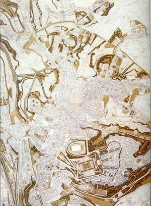 Siena. PRG'90. Projeto de Solo (detalhe). In CAMPOS VENUTI, Giuseppe; OLIVA, Federico (eds.). Cinquant'anni di urbanistica in Italia, 1942-1992. Bari, Laterza, 1993