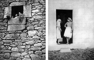 Arquiteturas populares: à esquerda, a pedra escura das montanhas frias do norte; à direita, o branco da cal do sul plano e quente