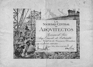 Diploma de Estrada como Conselheiro da Sociedade Central de Arquitetos [Colección familia Estrada]