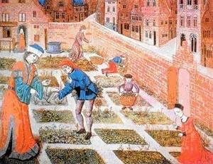 Jardim em meio urbano [HAUDEBOURG, M. T. Les jardins du Moyen Âge. St-Armand-Montrod/Cher, Perrin, 2001, p.193]