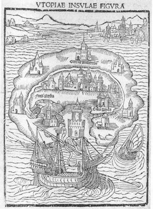 Gravura que ilustra Ilha da Utopia, de Thomas More, 1516. Note-se uma concepção de relação ideal entre o urbano, o rural e as práticas agrícolas. A cima à direita, o meio urbano, congestionado e densamente ocupado, antípoda do que se passava na ilha