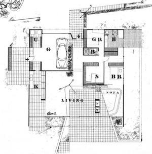 Case Study House n.09, Charles Eames, Ray Eames e Eero Saarinen, 1944, Chautauqua Boulevard, Pacific Palisades [A&A, dez. 1945]