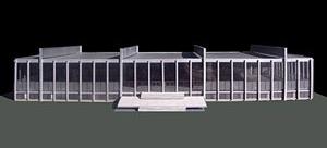 Crown Hall, Mies Van der Rohe (1950-1969, Chicago). Maquete realizada por Anna Rendé, Aida Fuster e Miquel Puigbert Badosa [Història en Obres. portal d'història de l'arquitectura moderna, n. 01/2007]