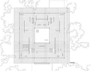 Museu Georg Schäefer, Mies Van der Rohe (1960-61, Schweinfurt). Desenho realizado por Jéssica Millán, Moises Pernía [Història en Obres. portal d'història de l'arquitectura moderna, n. 01/2007]