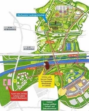 A monumental marca do Gasometer apóia o sucesso econômico do CentrO, e ambos reativam o desenvolvimento urbano de Oberhausen [Folheto de divulgação]