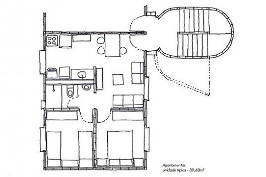 """Projeto alternativo para o programa """"Minha Casa, Minha Vida"""", planta da unidade. Arquiteto João Filgueiras Lima, Lelé<br />Imagem divulgação"""