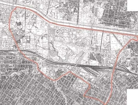 Figura 1 – Operação Urbana Água Branca. Mapa da área de atuação apresentada pela referência GEGRAN 1972