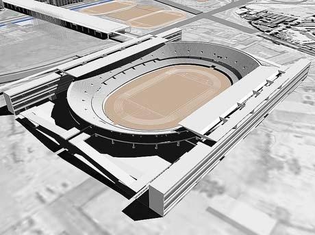 Figura 4 – Projeto Olímpico – Vila Olímpica e Estádio Olímpico: Paulo Mendes da Rocha e Equipe. Maquete eletrônica:  Roberto Kleinn