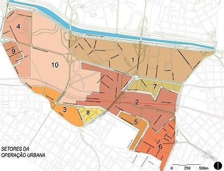 Figura 9 – Operação Urbana Água Branca. Ordenamento urbanístico, solo privado: nova setorização proposta