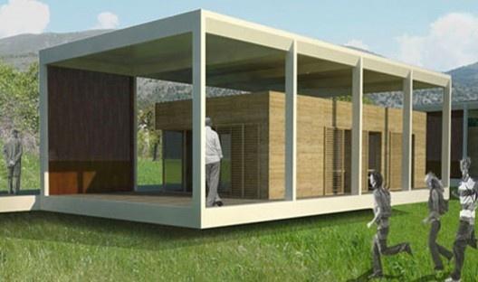 Módulo interno da habitação inserido no módulo de infraestrutura e cobertura do projeto MIA, coordenado por Roberto Bologna<br />Foto divulgação