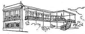 """A casa do """"velho portuga"""" com suas varandas sustentadas por perfis de ferro [Lucio Costa: sobre arquitetura. Centro de estudantes universitários de arquitetura, 1962, ]"""