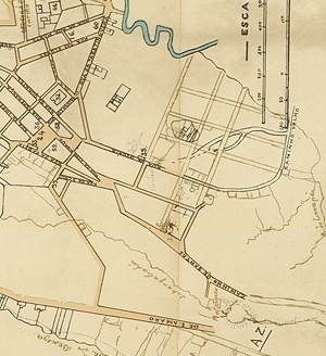 Detalhe do mapa da cidade de São Paulo, de Carlos Rath 1868, mostrando a região da Glória.À leste da Rua da Gloria, a comparação dos 3 detalhes permite verificar que o traçado da área fora modificado, respondendo às necessidades de aforamento dos terrenos