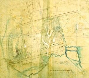 """Arruamento de terrenos na região da rua da Glória: """"Copia da Planta da parte de terreno que a Sta Casa quer arrendar"""" levantada por Carlos Rath, 1856. Localização: AHNWL - Terras Particulares, 163 – XD 37"""