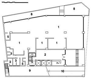 Edifício Renata Sampaio, planta térreo: 1. escritório / salas; 2. hall; 3. W.C.; 5. depósito / despensa; 8. jardim; 9. área descoberta; 10. rampa de acesso ao subsolo