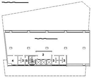 Edifício Renata Sampaio, planta tipo da torre: 1. escritório / salas; 2. hall; 3. W.C.; 4. copa; 5. depósito / despensa