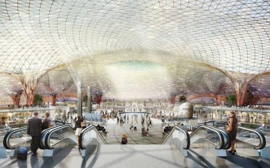 Foster and Partners Architects, Aeropuerto internacional de la Ciudad de Mexico, 2014. Maqueta digital<br />Imagen divulgación  [fosterandpartners.com]
