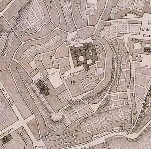 Fig. 8 - Pormenor da Planta Topográfica do Porto, 1839, onde é visível a estrutura do burgo medieval em torno da Sé Catedral