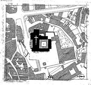 Fig. 10 - Planta do Centro Histórico do Porto, intervenções da DGEMN na Sé Catedral e claustros anexos, 1930-1940