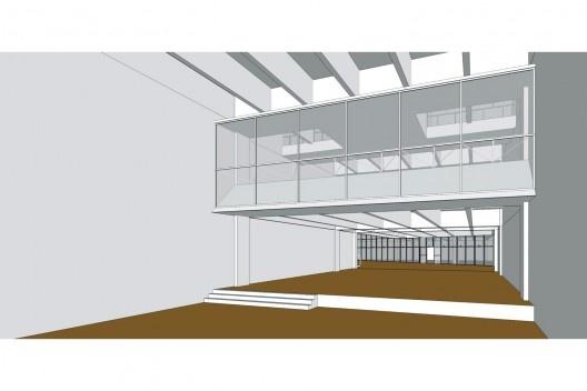 Perspectiva do interior da agência, próximo ao acesso da avenida Duque de Caxias; acima, a esquadria que delimita o pavilhão superior a partir do modelo tridimensional do Banespa<br />Elaboração dos autores