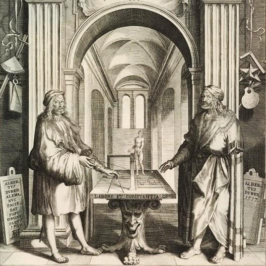 Duplo retrato de Albrecht Dürer, detalhe, gravura de Lucas Kilian, c.1628<br />Imagen divulgación