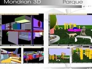 Productos del ejercicio introductorio. Autores: Arq. Dayana Pirela (Mondrian 3D) y Arq. Ramón Cadenas (Parque)