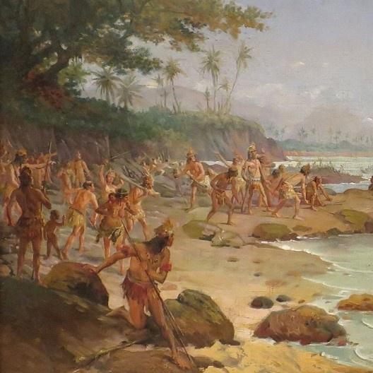 A chegada ao Brasil, detalhe, pintura Oscar Pereira da Silva (1865-1959)<br />Imagem divulgação  [Wikimedia Commons]