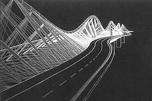 Proposta para o lago de Genebra, Suíça do Team Luscher com o Engenheiro Jean Tonello. Pont Devenir, (1994) com 325 metros de extensão sustenta duas pistas rodoviárias nas laterais Da estrutura treliçada, enquanto permite uma série de usos na parte interna
