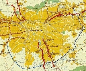 Detalhe de Folder de divulgação do Rodoanel Metropolitano de São Paulo - DERSA , Desenvolvimento Rodoviário S.A - Governo de São Paulo - Secretaria de Transportes, 1999